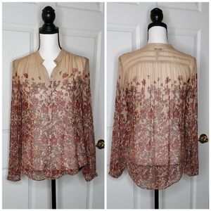 Lucky Brand floral button down blouse sz S
